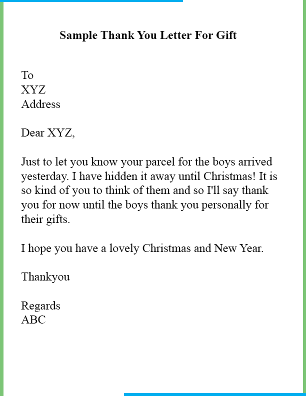 Sample Thank You Letter For Christmas Gift