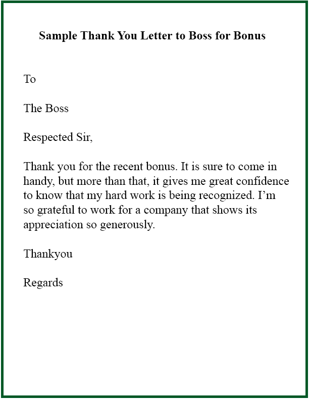 Sample Thank You Letter To Boss For Bonus