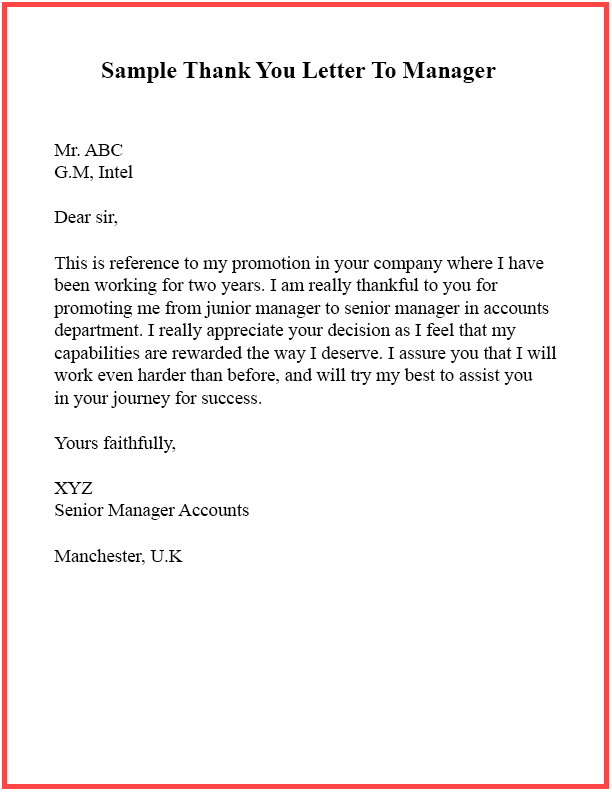Sample Thank You Letter To Manager