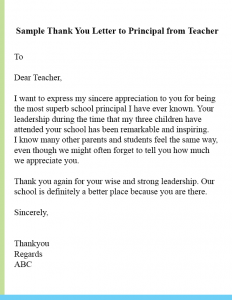 Sample Thank You Letter To Principal From Teacher