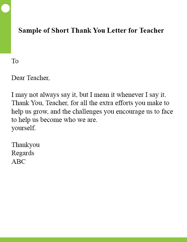 Sample of Short Thank You Letter For Teacher
