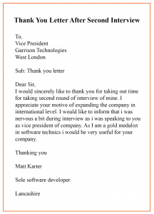Format of Thank You Letter After Phone Interview