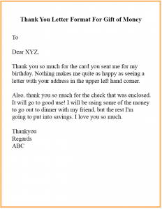 Thank You Letter Format For Gift of Money