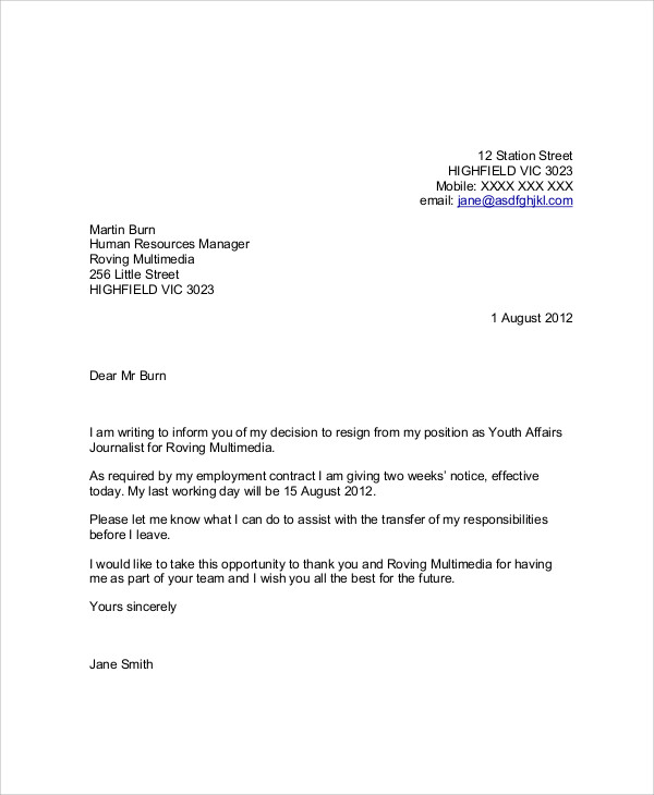 Thank You Letter Template For Leaving Job