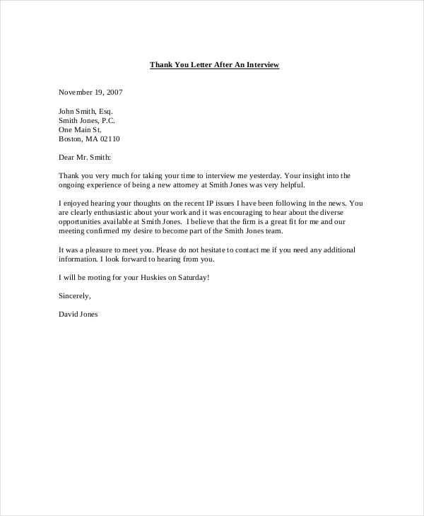 Thank You Letter Template after Interview