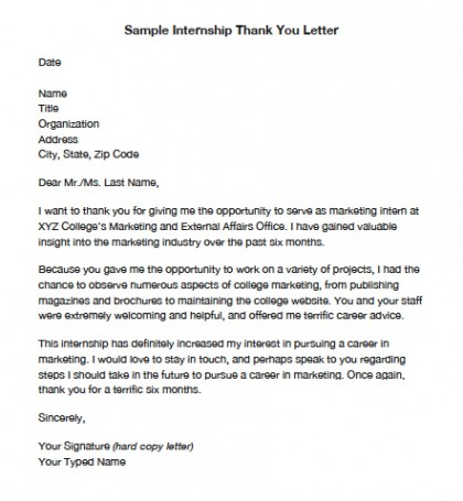 Thank You Letter for internship