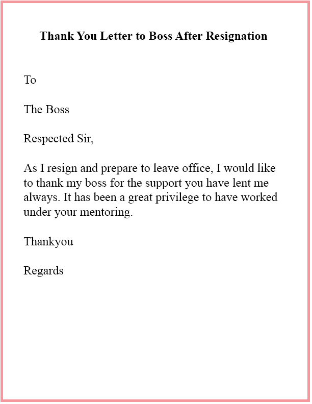 Thank You Letter To Boss After Resignation
