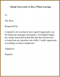 Thank You Letter To Boss When Leaving