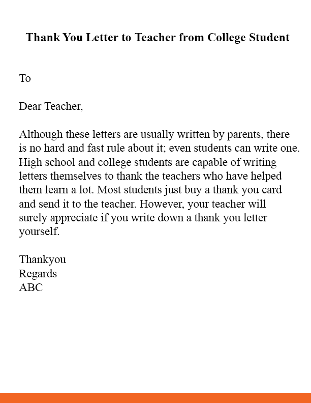 Thank You Letter To Teacher From College Student