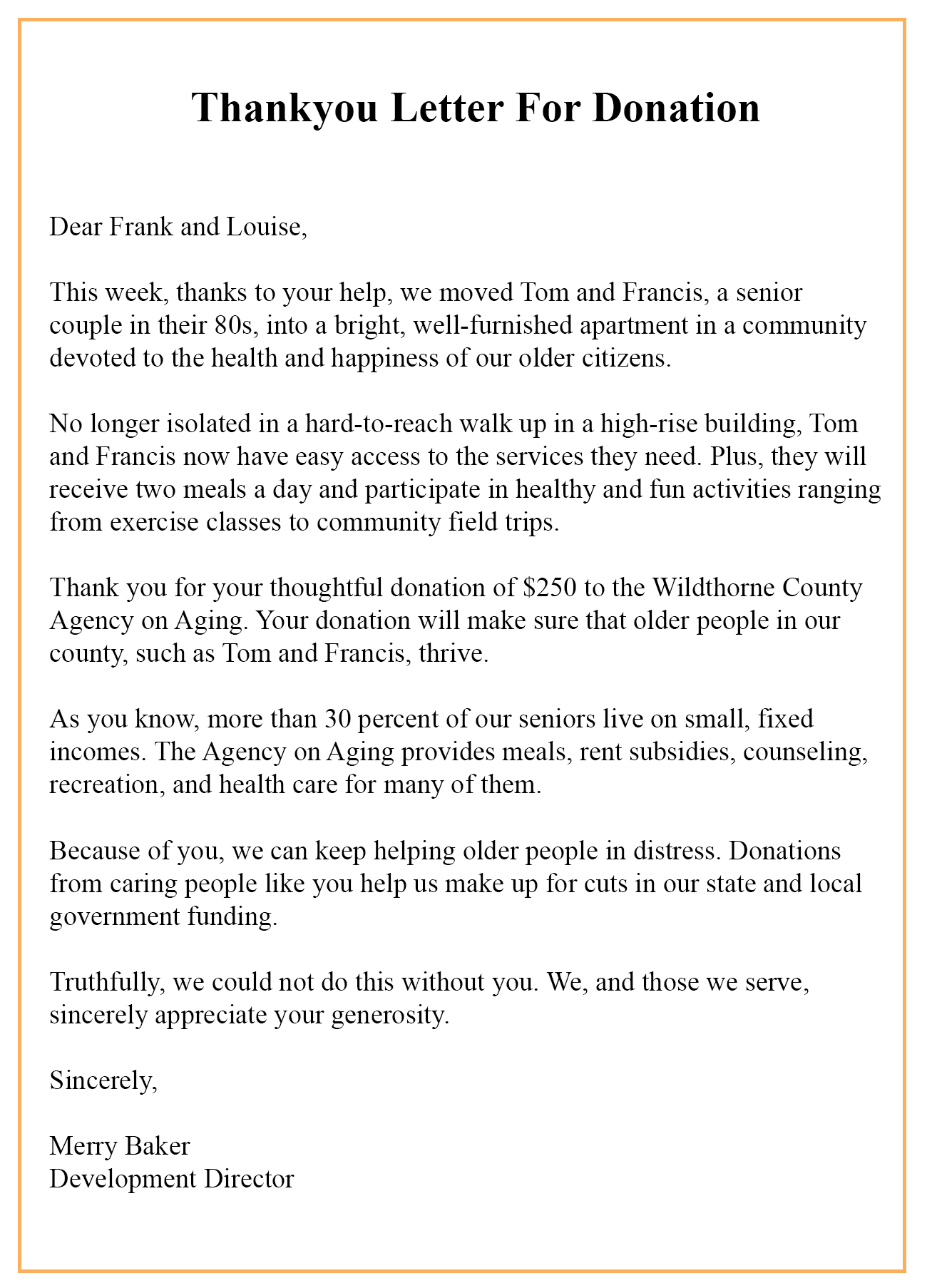 Donation Thank You Letter Templates