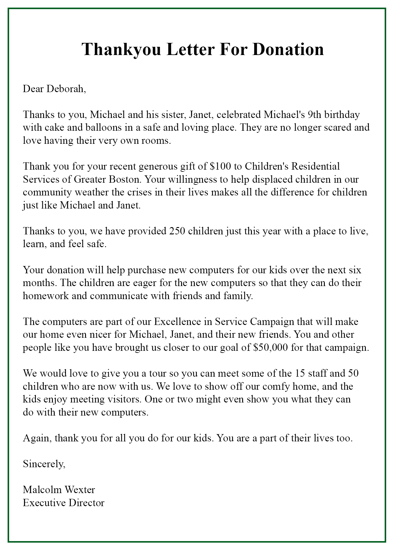 15 Format Of Sample Thank You Letter Template For Donation
